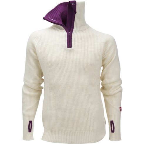 Rav Sweater W/Zip Vanilla/Deep Purple